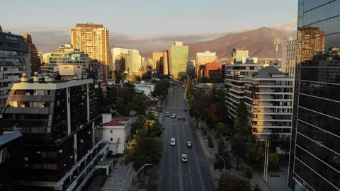 Sunset on Apoquindo Avenue in Las Condes, Santiago de Chile