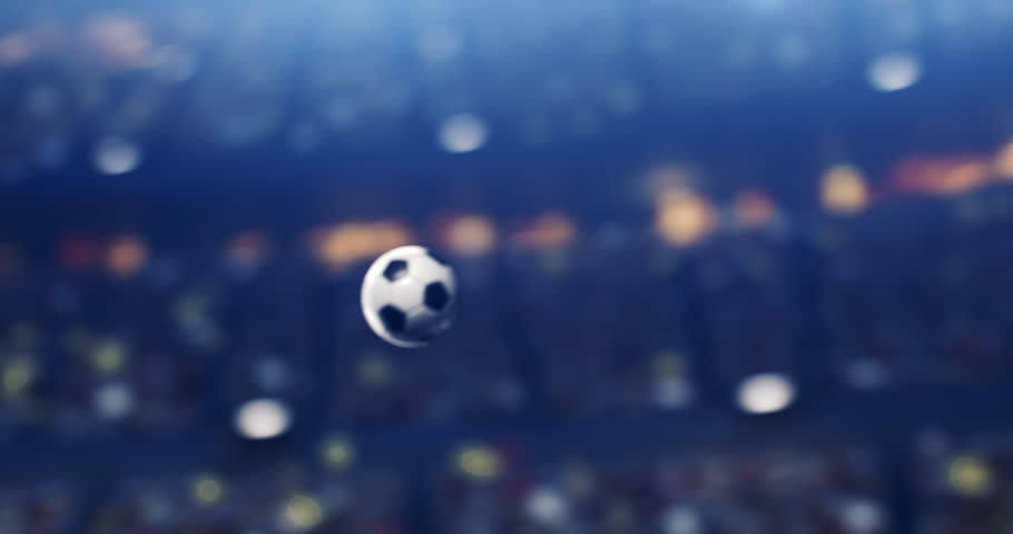 4k footage of a dramatic soccer stadium with ball flying on it. The stadium was made in 3d without using existing references. The crowd and light on the stadium are animated. | Shutterstock HD Video #1026060209