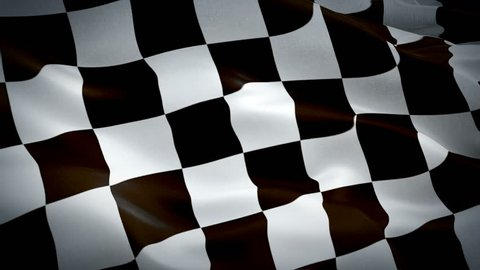 Checkered Racing Flag With Pole Transition Wipe video waving in wind. Formula Racing Flag background. Start Race Checkered Flag Looping Closeup 1080p Full HD footage.Checkered Black white