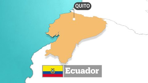Ecuador map with flag