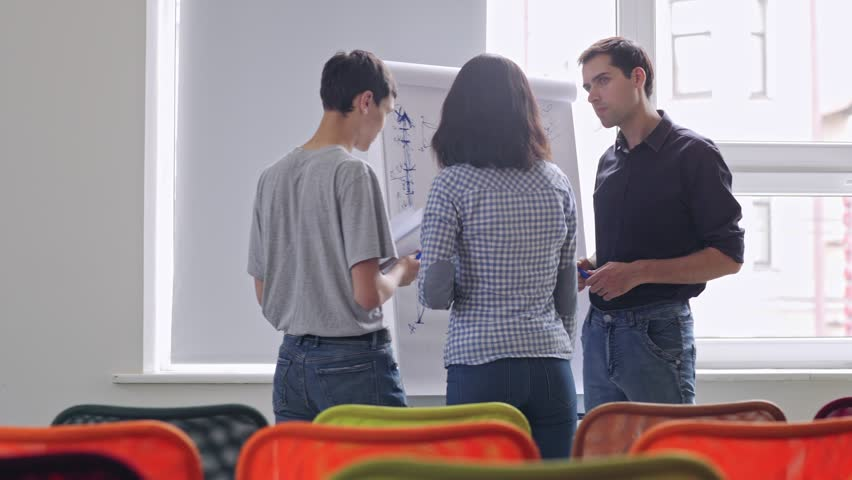 Panning shot of professional mentor helping two start-up entrepreneurs to plan business strategy. Business trainer drawing graphs on flip chart to explain key points to young business people | Shutterstock HD Video #1026173249