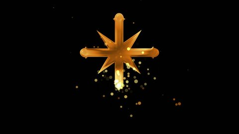 Golden scientology cross on transparent background. Appearance from glitter golden particles effect. Stardust cloud. Glitter effect. 4k video with alpha channel.