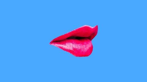 Minimal motion gif design. Sexy Lips Kiss