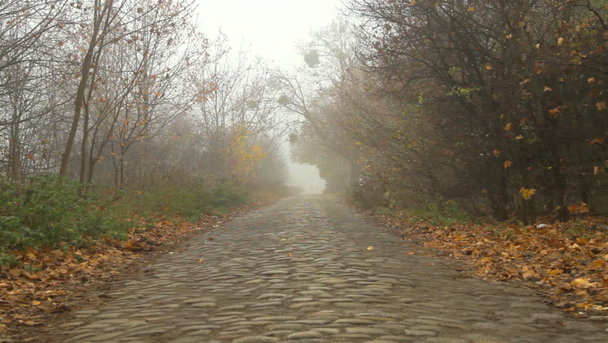 The distant silhouettes of two people appear through the fog on a long straight stone paved road during a foggy misty morning.