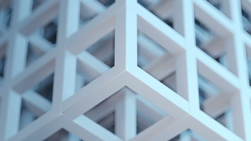 Beautiful seamless loop 3D animation of an abstract gray-blue cubic puzzle background | Shutterstock HD Video #1026333839