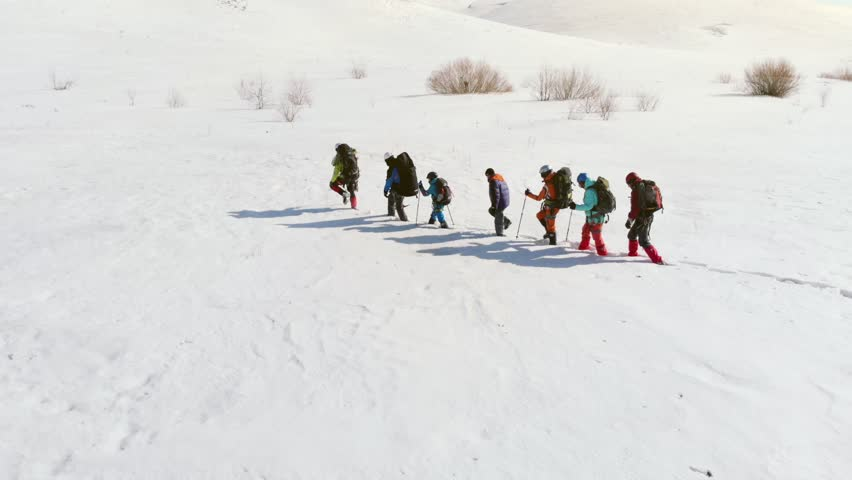 A special group of seven travelers, travels the route of the deep drifts towards the large hill to make halt #1026346619