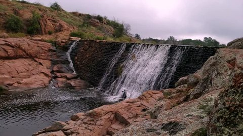 Beautiful cobblestone waterfall at Lost Lake on the Kite Trail at the Wichita Mountains Wildlife Refuge.