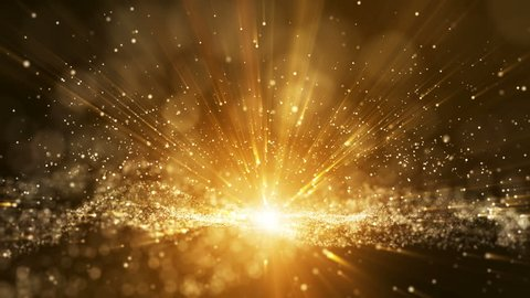 Seamless loop, Dark brown background, digital signature with particles, sparkling waves, curtains and areas with deep depths. The particles are golden light lines.