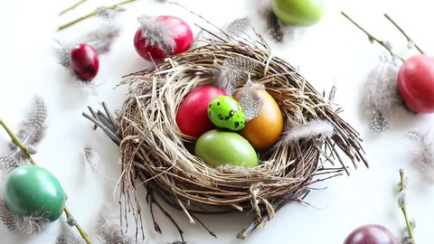 Easter eggs in nest.  Happy Easter.