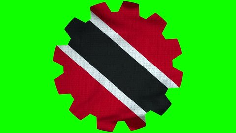 Trinidad Tobago Gear Flag Loop - Realistic 3D Illustration 4K - 60 fps flag of the Trinidad Tobago - waving in the wind. Seamless loop with highly detailed fabric texture. Loop ready in 4k resolution