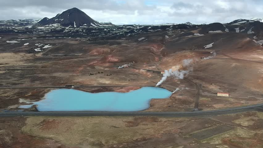 Steam and thermal springs (Iceland, aerial view) | Shutterstock HD Video #1026553079