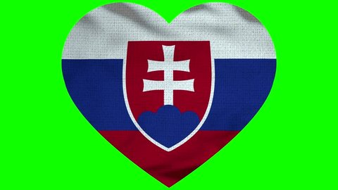 Slovakia Heart Flag Loop - Realistic 3D Illustration 4K - 60 fps flag of the Slovakia - waving in the wind. Seamless loop with highly detailed fabric texture. Loop ready in 4k resolution