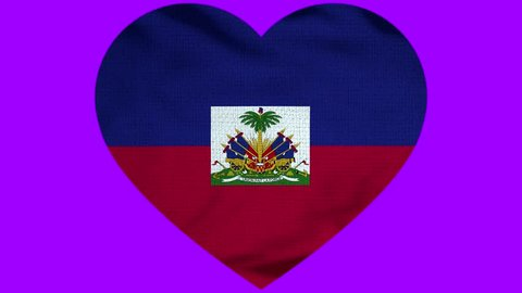 Haiti Heart Flag Loop - Realistic 3D Illustration 4K - 60 fps flag of the Haiti - waving in the wind. Seamless loop with highly detailed fabric texture. Loop ready in 4k resolution