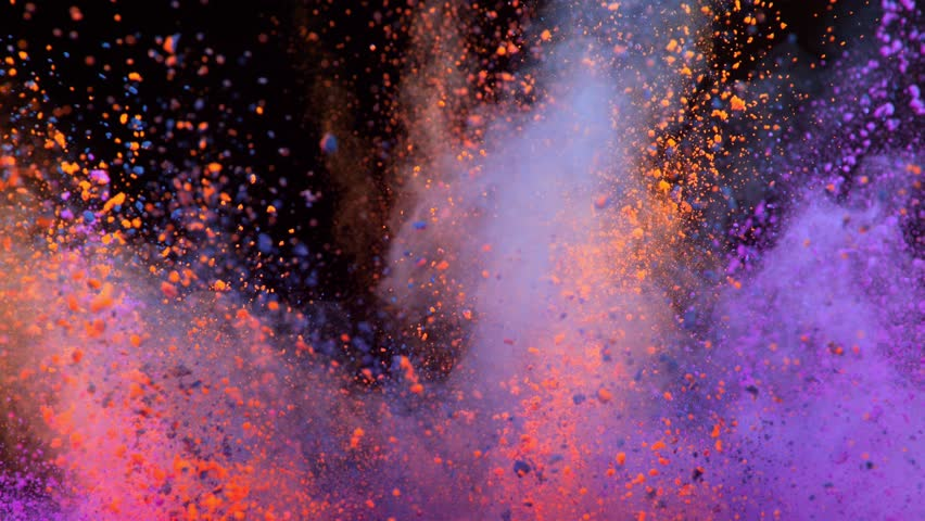 Super slowmotion shot of color powder explosion isolated on black background. | Shutterstock HD Video #1026664739