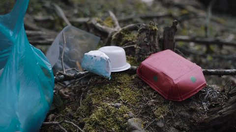 White man cleaning polluted forrest and picking plastic