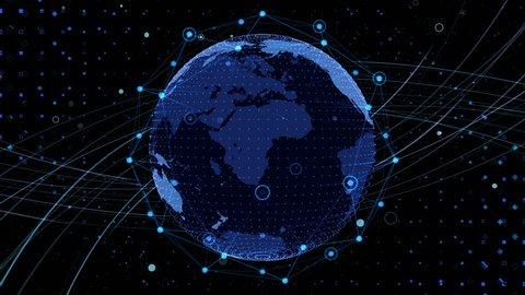 Earth on Digital Network background