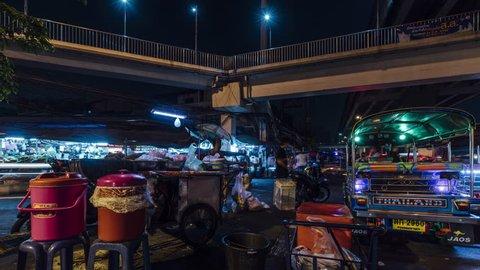 Bangkok / Thailand - March 21 2019: A 4K time lapse of Bangkok's famous Khlong Toei fresh food market.