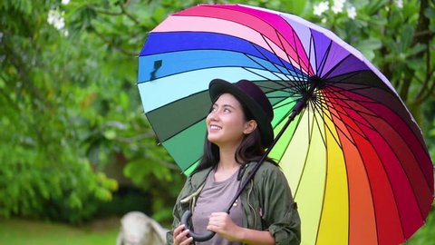 2f29e7d84d8 asia woman play raindrop from colorful umbrella.She turn umbrella many  color cheerful gesture in
