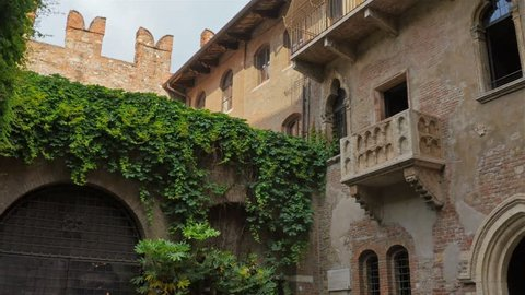 romeo and juliet house balcony in the center of verona italy