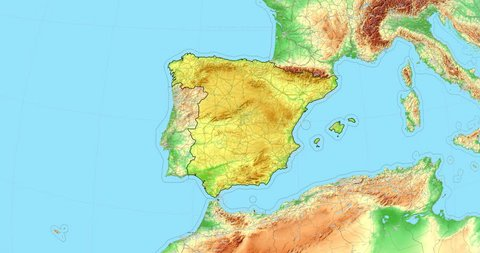 Elevation Map Of Spain.1000 Topographic Europe Map Stock Video Clips And Footage Royalty