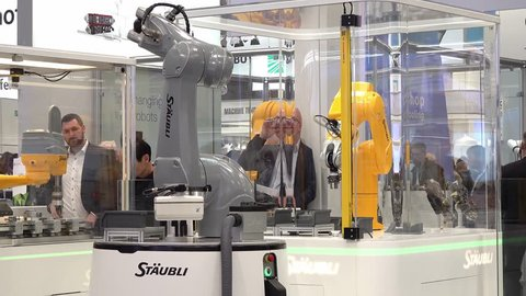 HANNOVER / GERMANY - APRIL 02 2019 : Staubli is presenting the newest generation of cobots - Collaborative robots - at the HANNOVER FAIR.