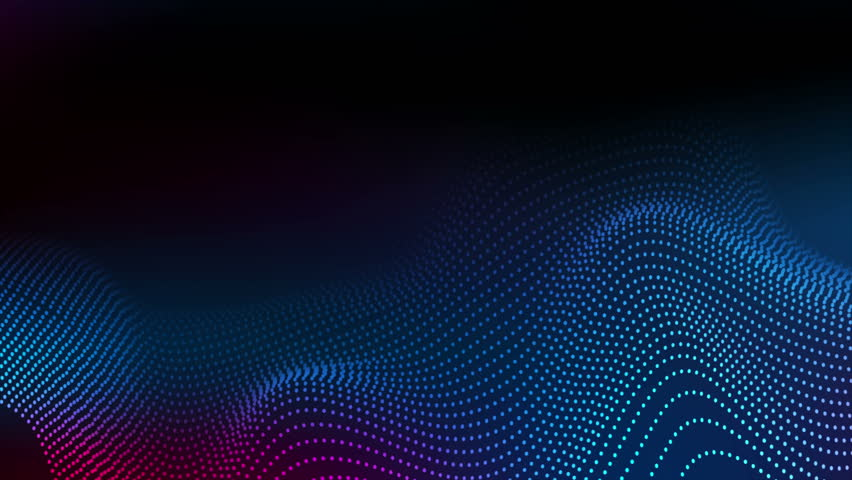 Abstract futuristic blue and purple wavy dotted lines motion background. Seamless looping. Video animation