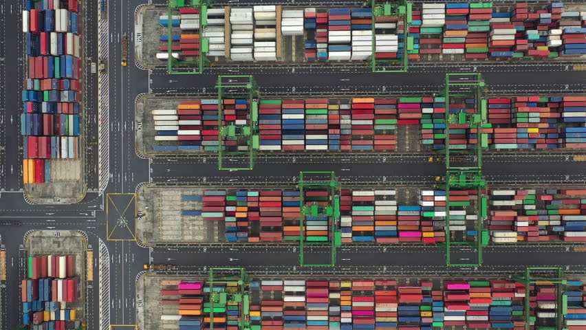 Day time flight over singapore container port terminal aerial topdown panorama 4k | Shutterstock HD Video #1026991259