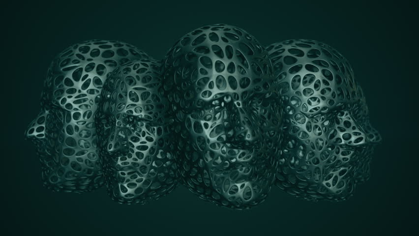Animation rotation of abstraction heads. Animation of seamless loop. | Shutterstock HD Video #1027031879