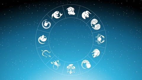 Animation of Zodiac Star Signs Rotating Around Scorpion Zodiac Sign Over Blue Starry Sky