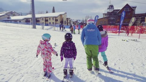 Steamboat Springs, Colorado, USA-December 8, 2018 - Slow Motion-Learning ski hill for alpine skiing.