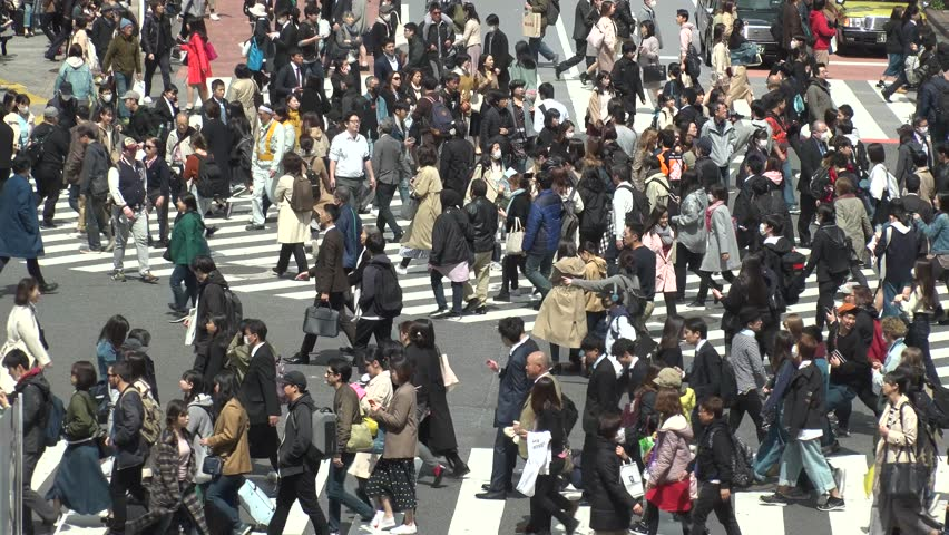 SHIBUYA,  TOKYO,  JAPAN - CIRCA APRIL 2019 : Scenery around SHIBUYA big scramble crossing area.  Crowd of people at the crossing. #1027072109