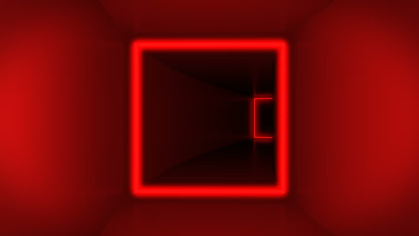 Rotating flying through colorful cube tunnel and glowing neon squares. All squares has different colors and shining from red, pink and magenta to yellow, green, cyan and blue colors, loop animation.