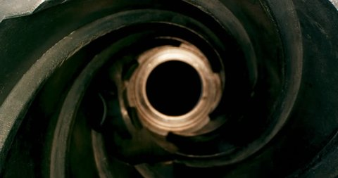Inside Equipment for Processing. Spiral. Helix, Tunnel. Extreme macro. 4K.