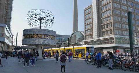 ALEXANDERPLATZ BERLIN GERMANY 3-29-2019: Large public square and transport hub in the central district of Berlin (Berlin Mitte). The square is named after the Russian Tsar Alexander I.
