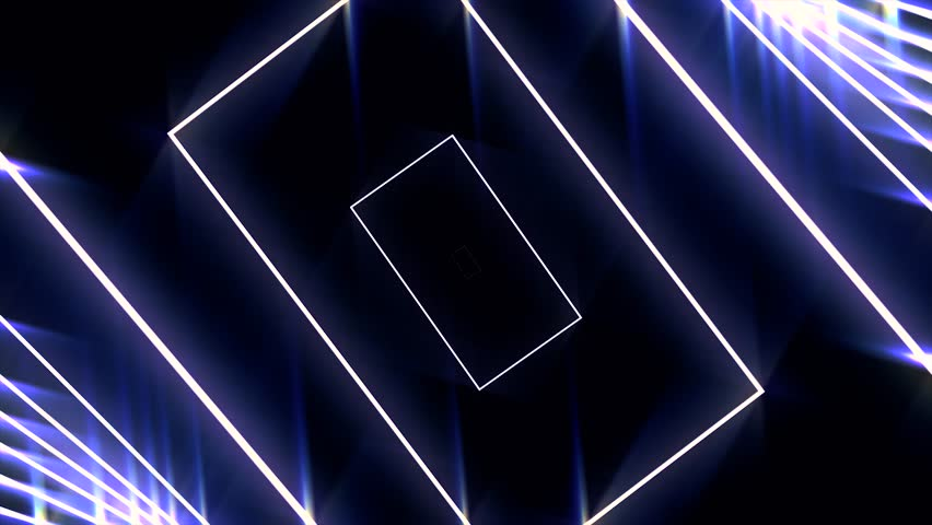 Abstract digital pattern with neon blue rectangles moving backwards, seamless loop. Animation. Geometrical figures fast movement on black background. | Shutterstock HD Video #1027146899