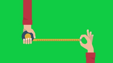 Men's hands is holding a metric roulette and measuring something by yellow tape. Motion graphics banner in flat style. Animation video isolated on green screen
