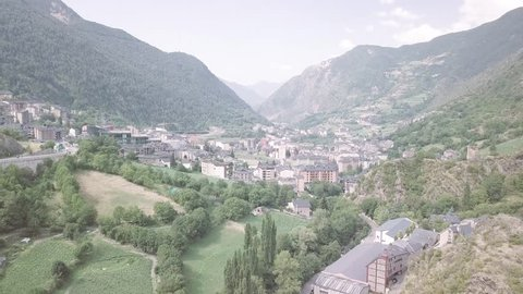 Andorra aerial flight above streets and rooftops