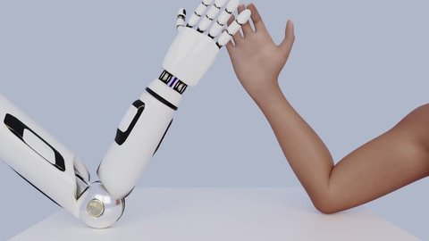 Armwrestling between human and robot. Two hands on the table. Photo-realistic 3D animation.