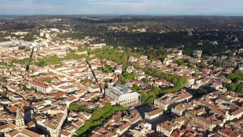 Beautiful sunny spring day aerial view over Nîmes city center Maison carrée Jardins de la Fontaine