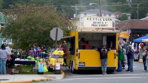Berkeley Springs, West Virginia / United States - 10 06 2018: Kettle corn was introduced to the United States in the 18th century. It is referenced in the diaries of Dutch settlers in Pennsylvania cir