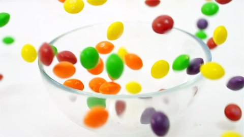 Colorful candy's motion falling down