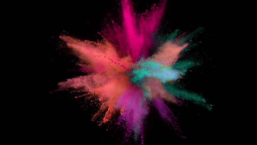 Super slowmotion shot of color powder explosion isolated on black background. #1027476539