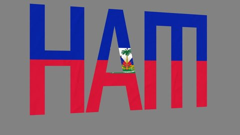 """The animated letters of the word """"Haiti"""" in national colors are fluttering like a flag in the wind. This clip has an additional alpha matte that allows to get the background transparent."""