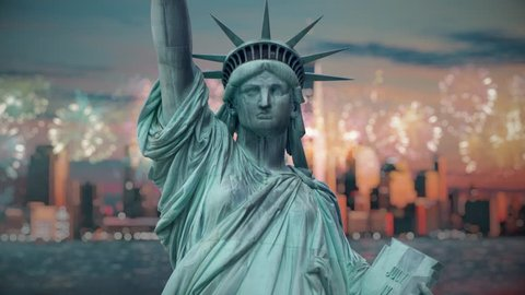 The statue of the Liberty at the 4 of July with Fireworks and Manhattan in a red sunset background, Cinemagraph 4K