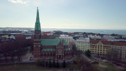 Aerial Parallax around Old Church. Aerial shot of St. John's Church, Johanneksenkirkko, Helsinki, Finland