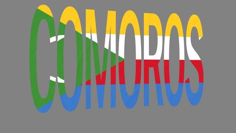 """The animated letters of the word """"Comoros"""" in national colors are fluttering like a flag in the wind. This clip has an additional alpha matte that allows to get the background transparent."""