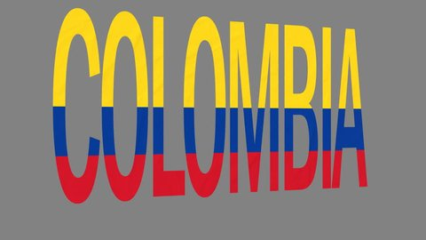 """The animated letters of the word """"Colombia"""" in national colors are fluttering like a flag in the wind. This clip has an additional alpha matte that allows to get the background transparent."""