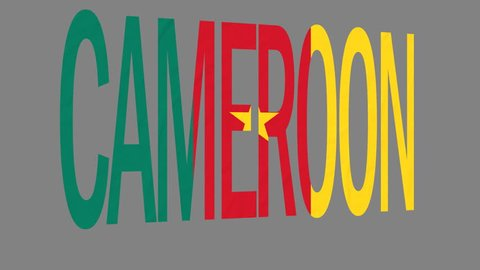 """The animated letters of the word """"Cameroon"""" in national colors are fluttering like a flag in the wind. This clip has an additional alpha matte that allows to get the background transparent."""