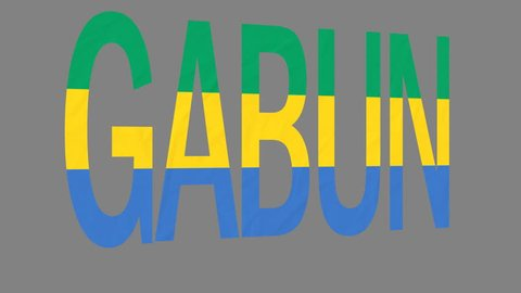"""The animated letters of the word """"Gabun"""" in national colors are fluttering like a flag in the wind. This clip has an additional alpha matte that allows to get the background transparent."""