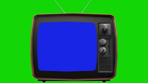 Old TV, Green Background with Blue Screen. Ready to Replace Each Color Screens with any Footage or Picture you Want. You can do it with Keying (Chroma Key) effect